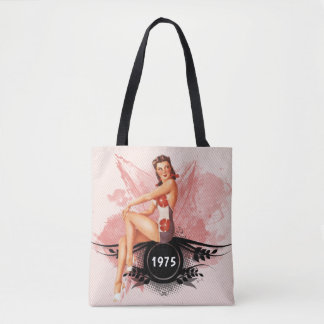 Pinup pink tote bag