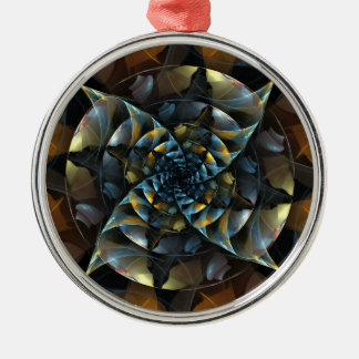 Pinwheel Abstract Art Round Silver-Colored Round Ornament