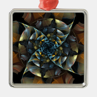 Pinwheel Abstract Art Square Silver-Colored Square Ornament