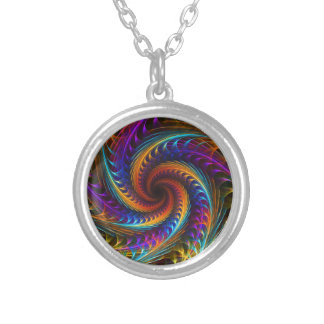 """Pinwheel Dreams"" -  Abstract Spiral Fractal Art Silver Plated Necklace"