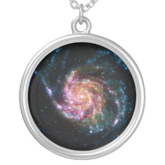 Pinwheel Galaxy Spiral Space Silver Plated Necklace