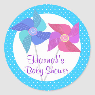 Pinwheels and Polka Dots Classic Round Sticker