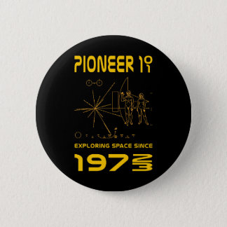 Pioneer 10 & 11 | Space 1972 & 1973 | gold 2 Inch Round Button