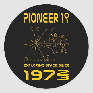 Pioneer 10 & 11 | Space 1972 & 1973 | gold Classic Round Sticker