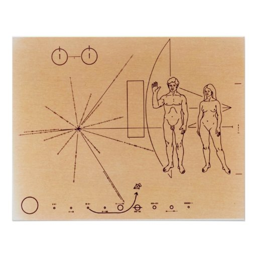 Pioneer 10's Plaque Engraved Gold-Anodized Plate Print