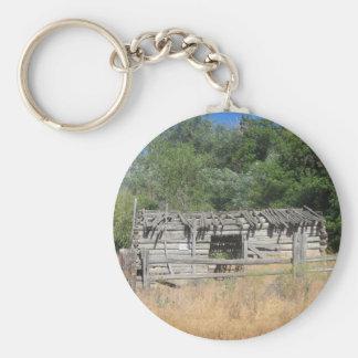Pioneer Cabin Basic Round Button Keychain