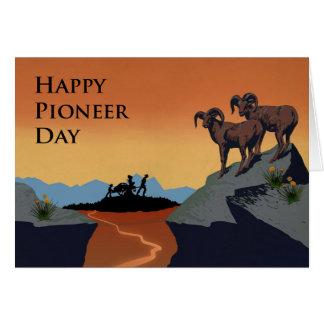 Pioneer Day, Handcart Pioneers Silhouette, Bighorn Card