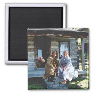 pioneer-era women with quilted ewe magnet