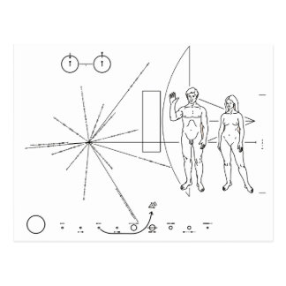 Pioneer plaque for Alien Contact in Space Postcard