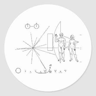 Pioneer plaque for Alien Contact in Space Round Sticker