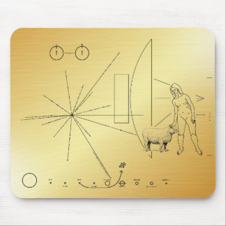 Pioneer plaque Woman petting a sheep ! Mouse Pad