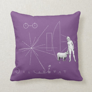Pioneer plaque Woman petting a sheep ! Throw Pillow
