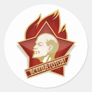 Pioneers Organization Vladimir Lenin Socialist Classic Round Sticker