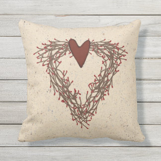 Pip Berry Heart Wreath Outdoor Pillow