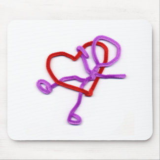 pipe cleaner man and heart mouse pad