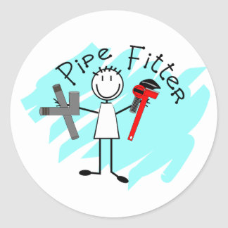 Pipe Fitter Stick Man Classic Round Sticker