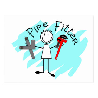 Pipe Fitter Stick Man Post Cards