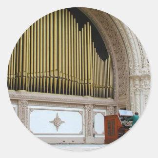 Pipe Organ Spreckels Classic Round Sticker