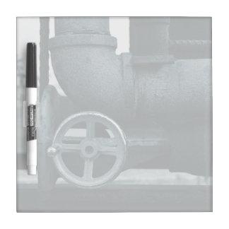 pipe wheel rusting metal blued steampunk dry erase whiteboards