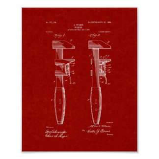 Pipe Wrench Patent - Burgundy Red Poster