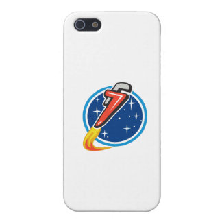 Pipe Wrench Rocket Blasting Off Orbit Space Circle iPhone 5/5S Covers