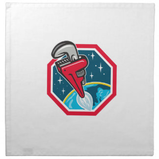 Pipe Wrench Rocket Booster Blasting Space Hexagon Napkin