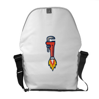Pipe Wrench Rocket Booster Side Retro Messenger Bags
