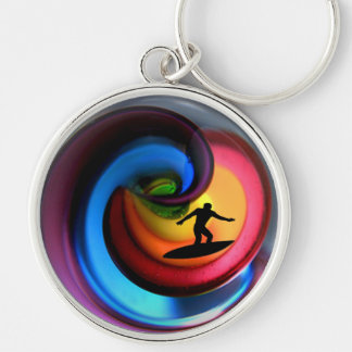 Pipeline at Sunset Silver-Colored Round Keychain