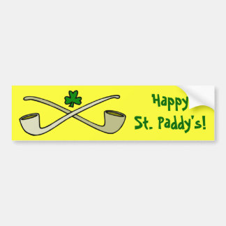 Pipes And Shamrock St. Patrick's Bumper Sticker