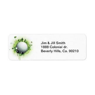 Piquons pour le golf étiquette d'adresse retour