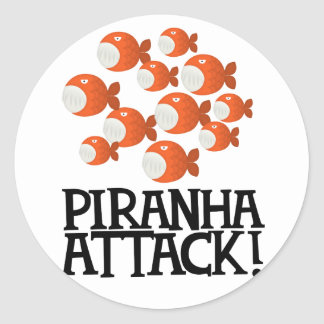 piranha attack! classic round sticker