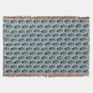 Piranha Frenzy Throw Blanket (Blue)