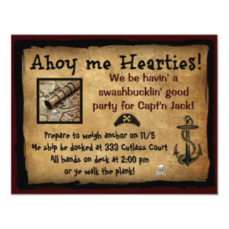 Pirate Ahoy Me Hearties! Party Invites