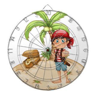 Pirate and island dartboard with darts