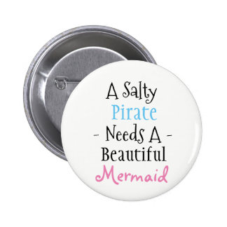 Pirate and Mermaid 2 Inch Round Button