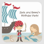 Pirate and Mermaid Stickers Square Stickers