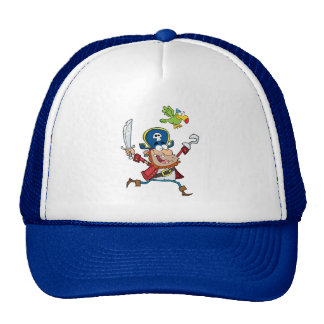 PIRATE AND PARROT CARTOON TRUCKER HAT
