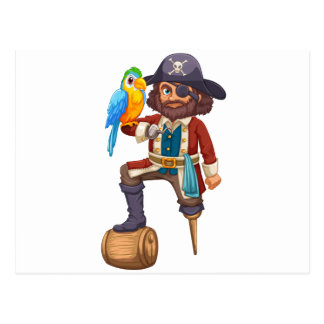 Pirate and parrot postcard