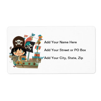 Pirate and Pirate Ship Shipping Label