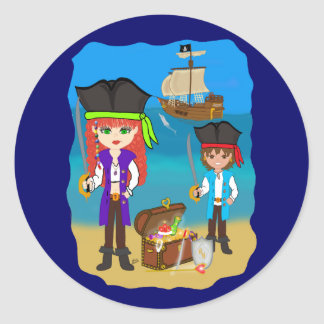 Pirate and Treasure Envelope Seal Sticker