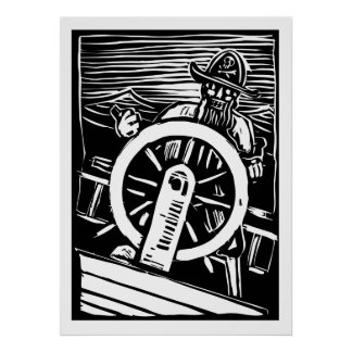 Pirate at the Helm Poster