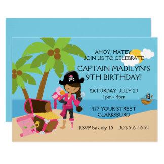Pirate avec une fête d'anniversaire de jambe de carton d'invitation  12,7 cm x 17,78 cm