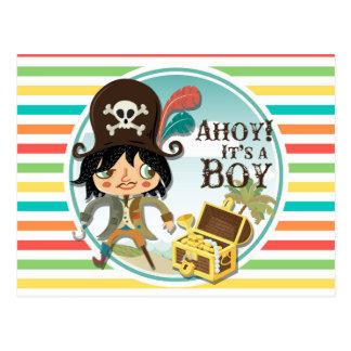 Pirate Baby Shower Bright Rainbow Stripes Postcards
