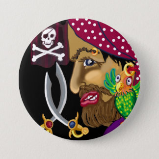 Pirate badge 3 inch round button