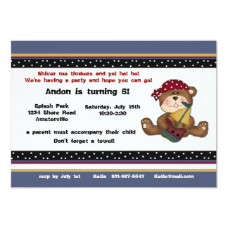 Pirate Bear Invitation