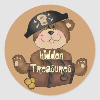 Pirate Bear with Treasure Chest Fun Stickers