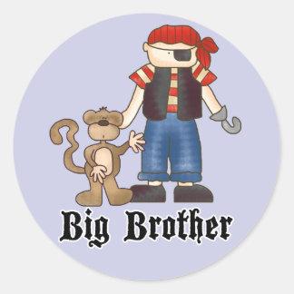 Pirate Big Brother Round Sticker