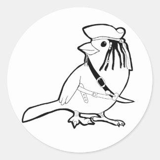 Pirate Bird Round Sticker