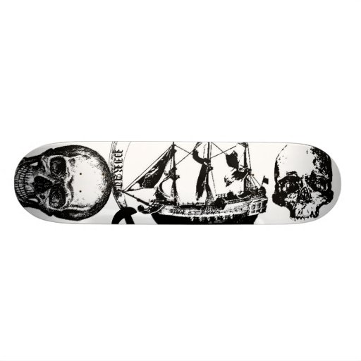 Pirate black and white skull's with ship and sword skateboard