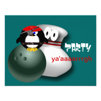 Pirate Bowling Party Invitations Customizable